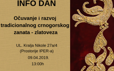 "INFO DAY ""Preservation and development of traditional Montenegrin crafts – goldsmiths"""