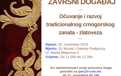 Final event of the project 'Preservation and Development of Traditional Montenegrin Craft – Golden embroidery'